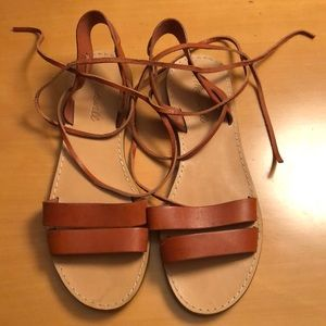 Madewell ankle tie leather sandals.